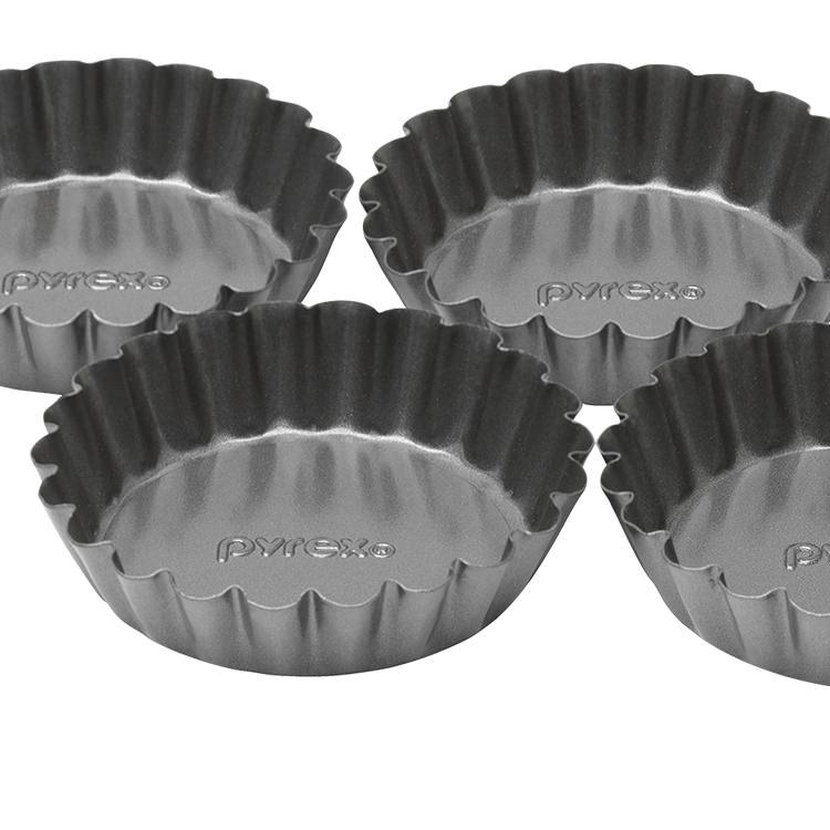 Pyrex Platinum Loose Bottom Tartlets Set of 4 8cm