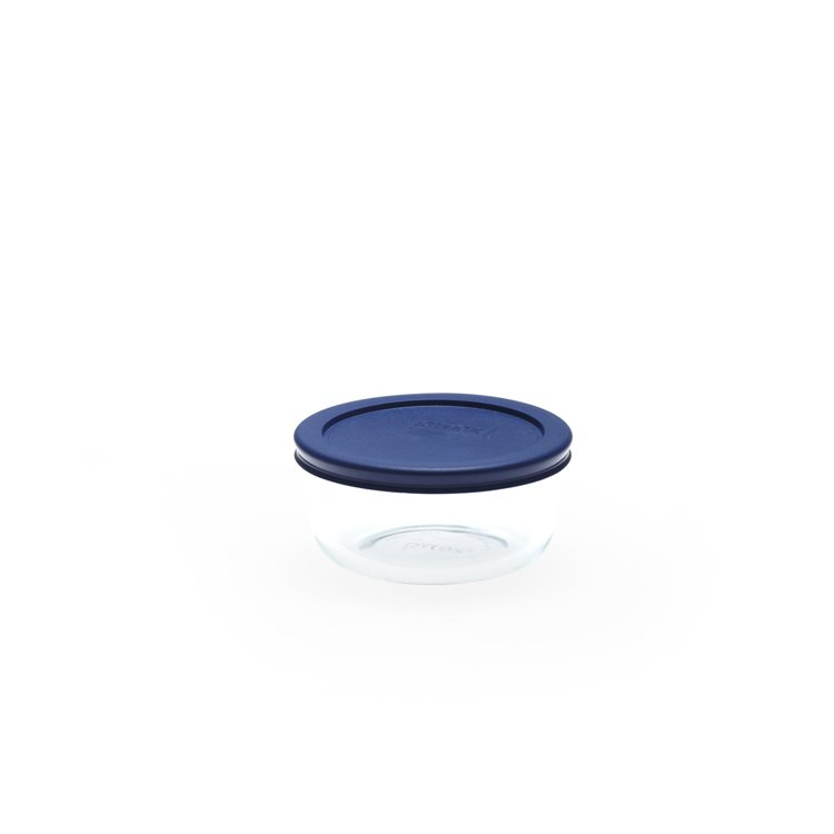 Pyrex Round Glass Storage 473ml Blue