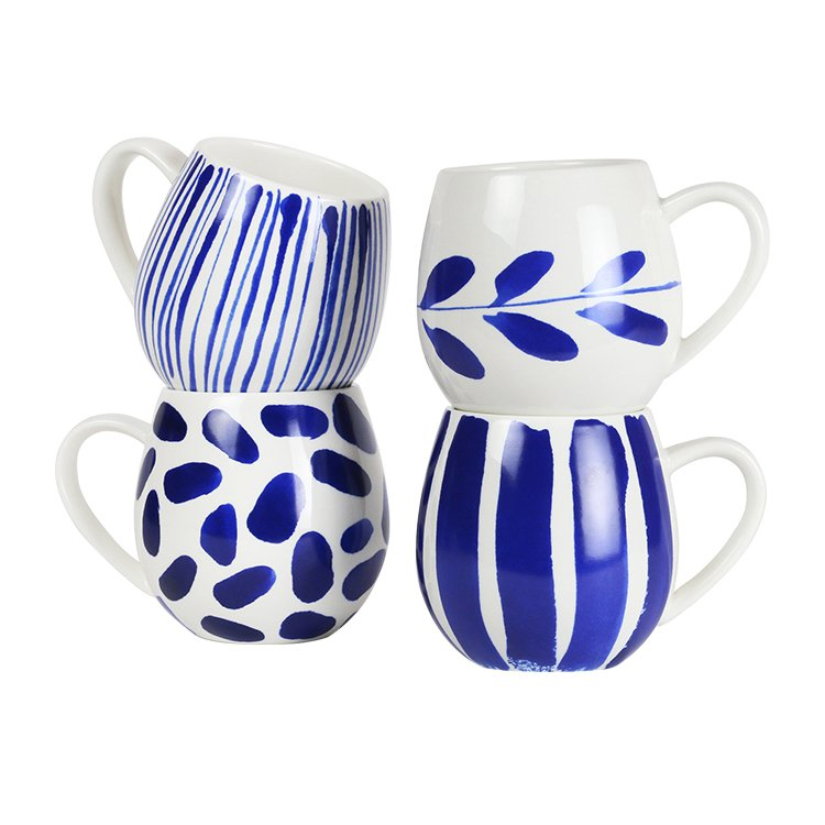 Robert Gordon Hug Me Mug Set of 4 Indigo Brush