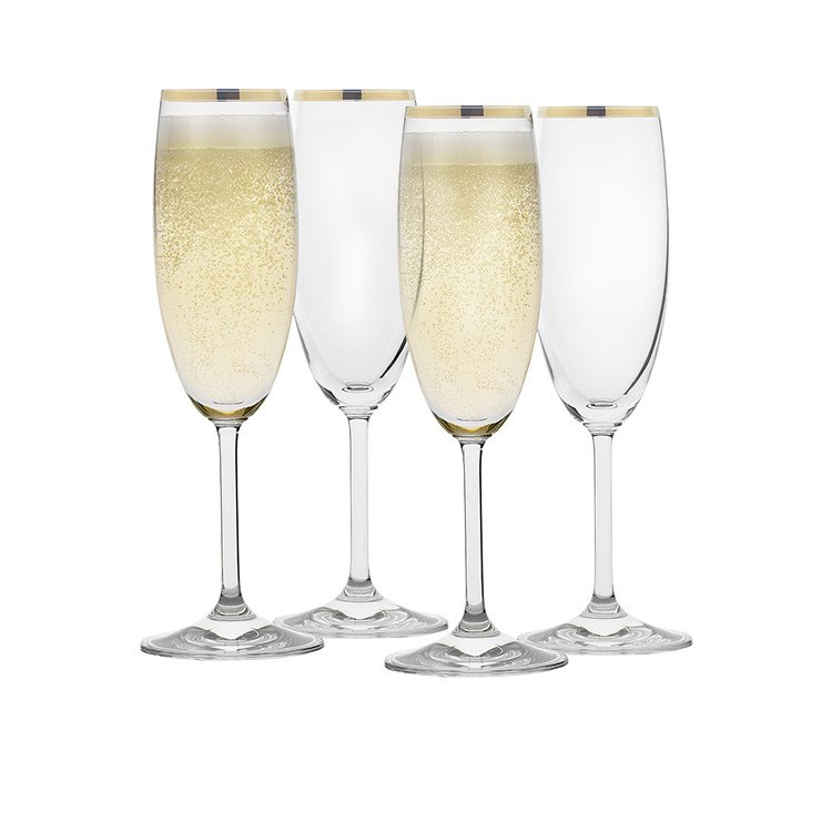 Rona Selene Gold Rim Champagne Flute 175ml Set of 4