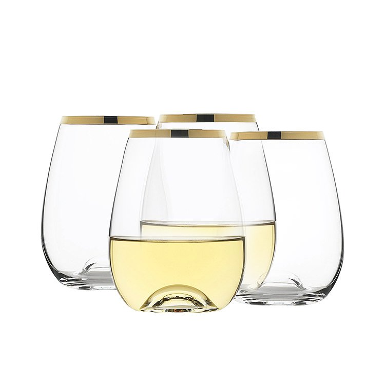 Rona Selene Gold Rim Stemless Wine Glass 460ml Set of 4