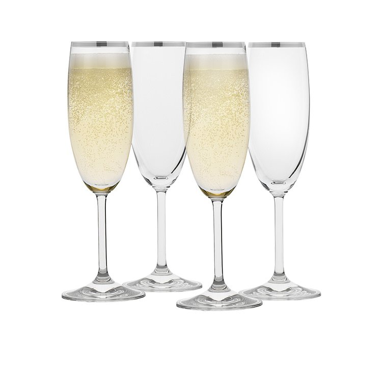 Rona Selene Platinum Rim Champagne Flute 175ml Set of 4