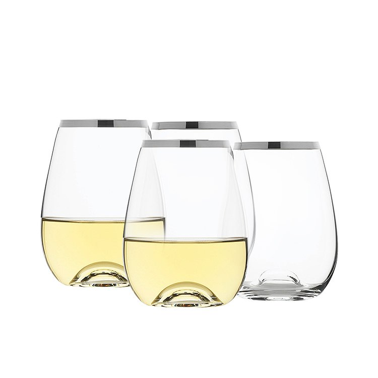 Rona Selene Platinum Rim Stemless Wine Glass 460ml Set of 4