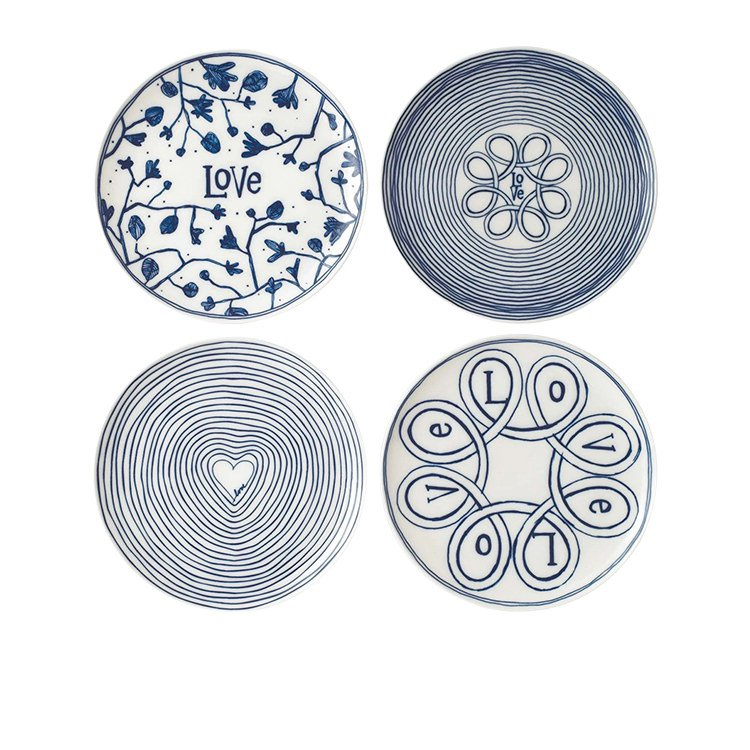 Royal Doulton Ellen DeGeneres Blue Love Accents Dinner Plate Set of 4
