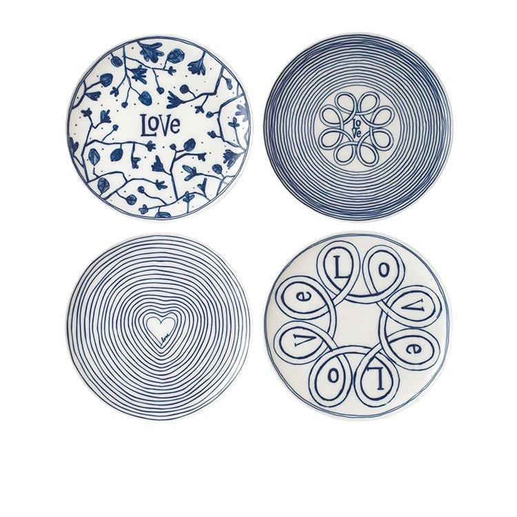 Royal Doulton Ellen DeGeneres Blue Love Accents Dinner Plate Set of 4