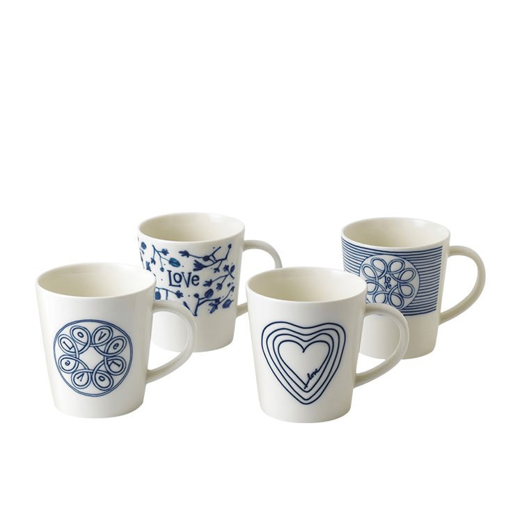 Royal Doulton Ellen DeGeneres Blue Love Accents Mug Set of 4