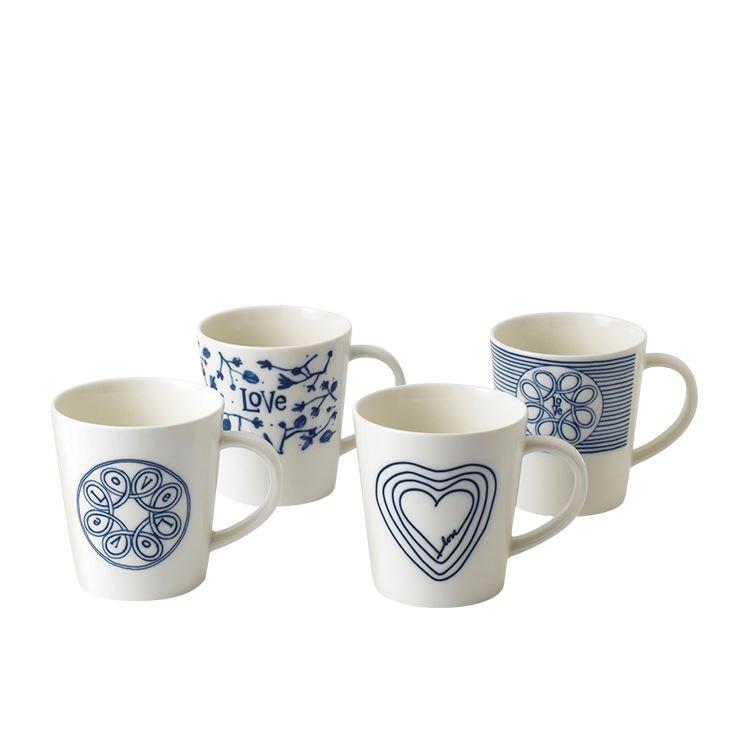 Royal Doulton Ellen DeGeneres Blue Love Accents Mug Set of 4