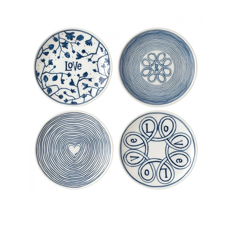 Royal Doulton Ellen DeGeneres Blue Love Accents Side Plate Set of 4