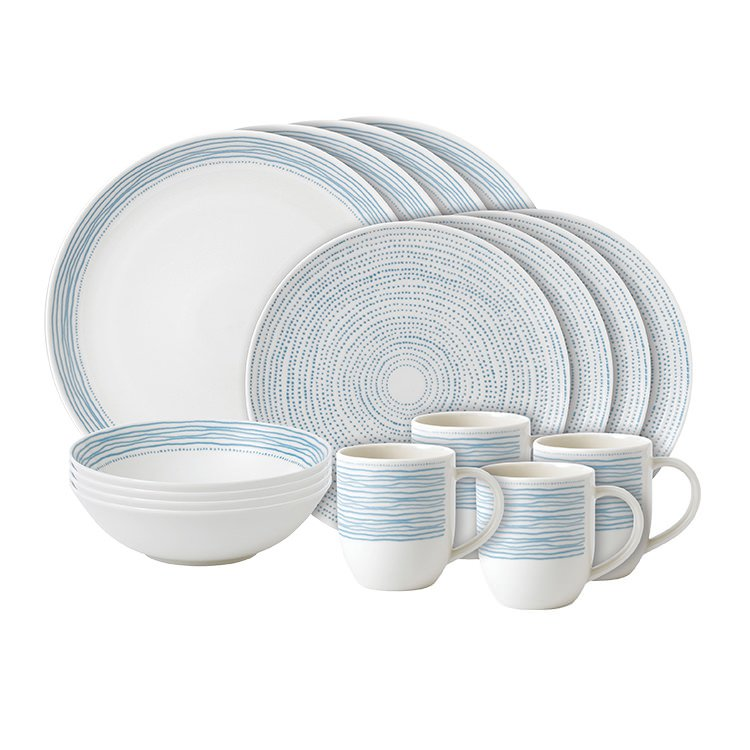 Royal Doulton Ellen DeGeneres Tableware Dots Dinner Set 16pc Polar Blue