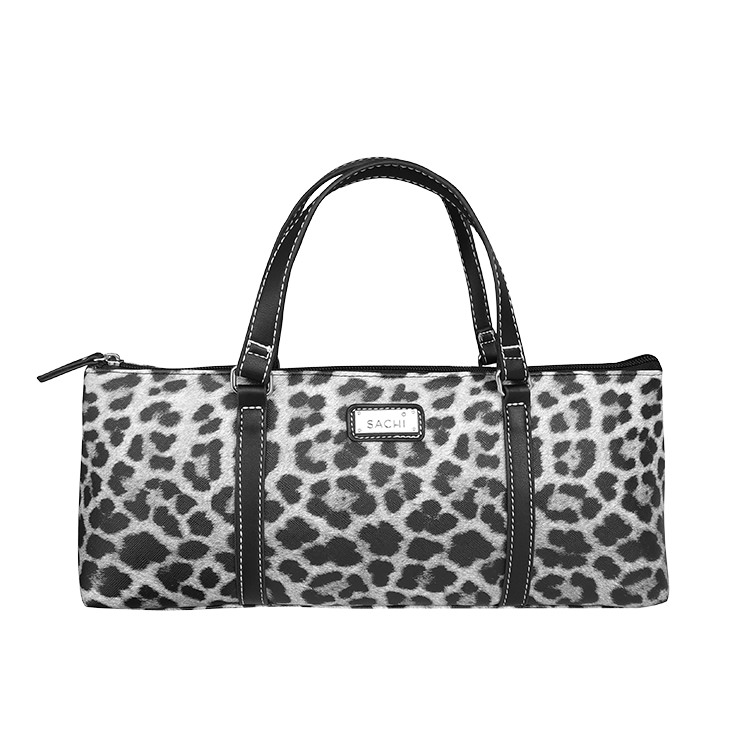 Sachi Insulated Wine Purse Leopard Grey
