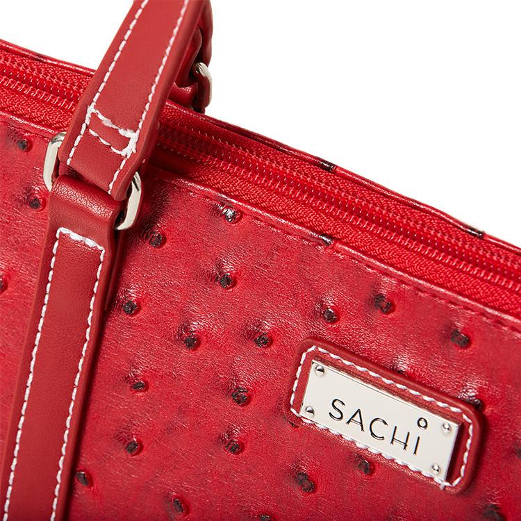 Sachi Insulated Wine Purse Ostrich Red