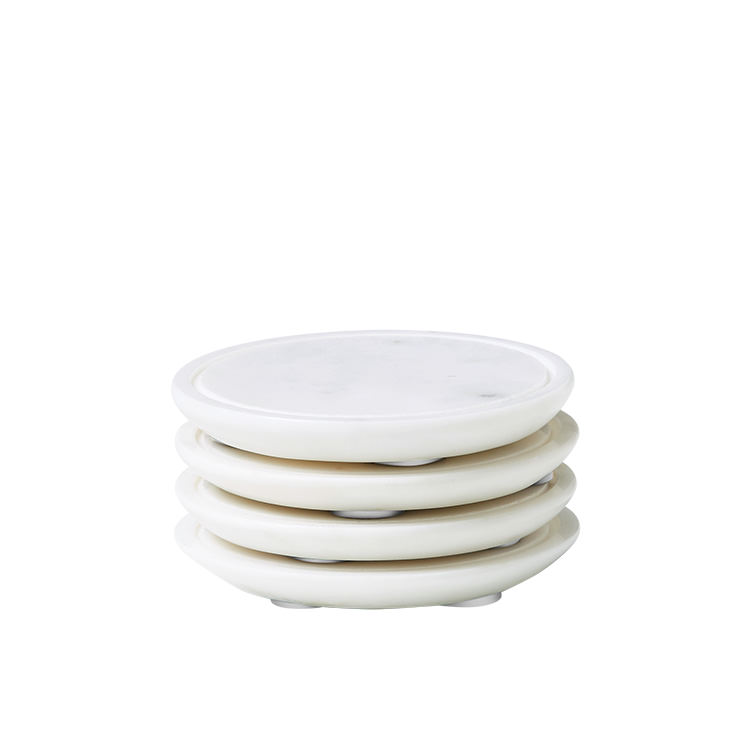 Salisbury & Co Carra Marble Coasters Set of 4 White