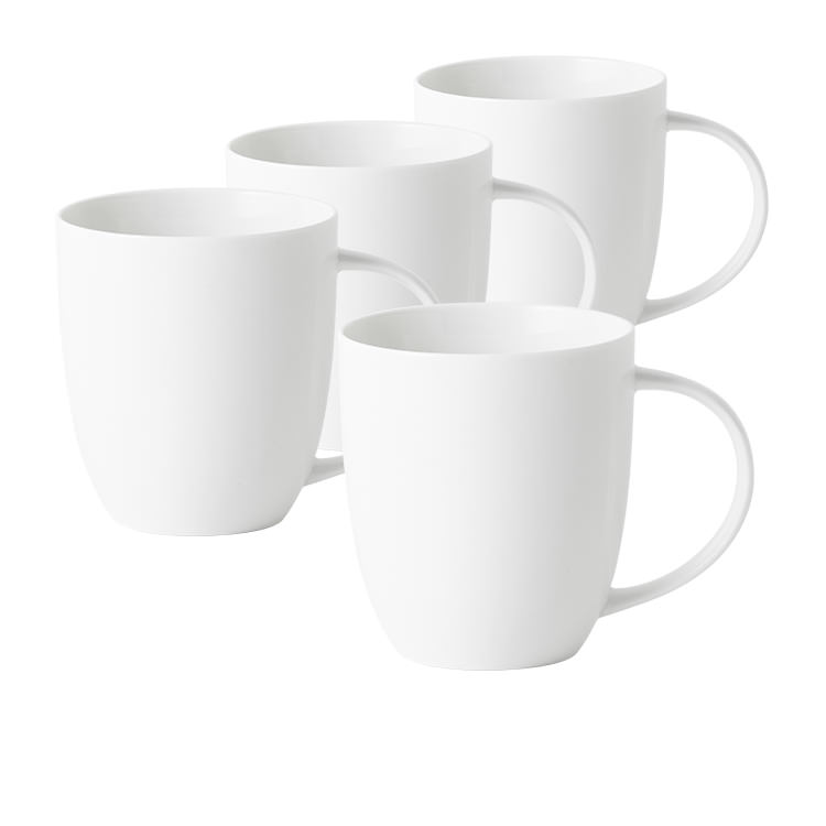 Salisbury & Co Classic 4pc Coupe Mug Set 420ml White