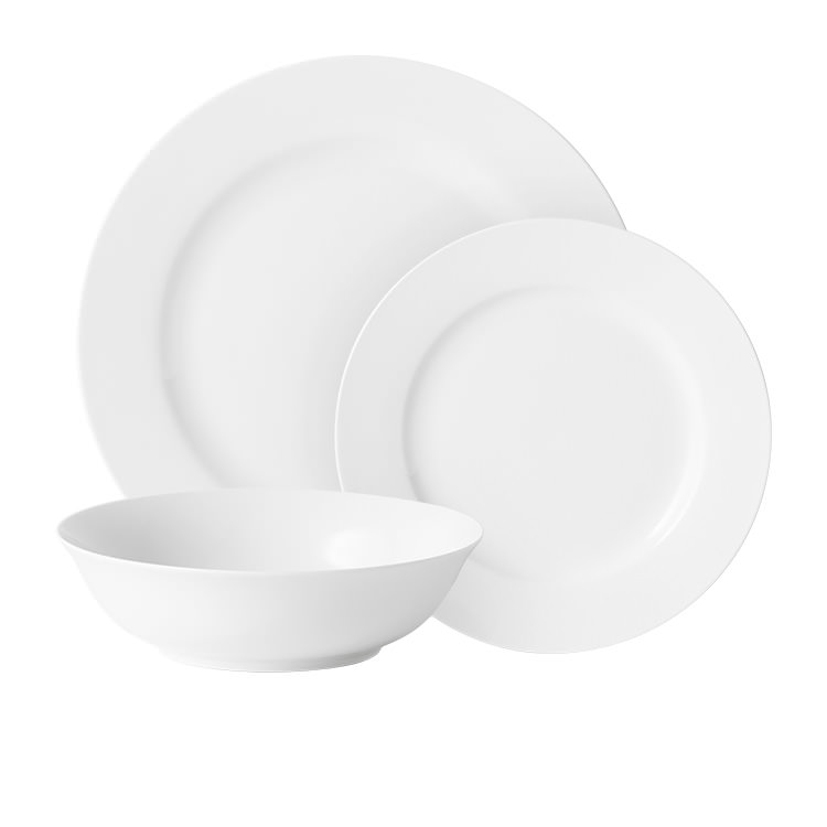 Salisbury & Co Classic Bistro 12pc Rim Dinner Set White