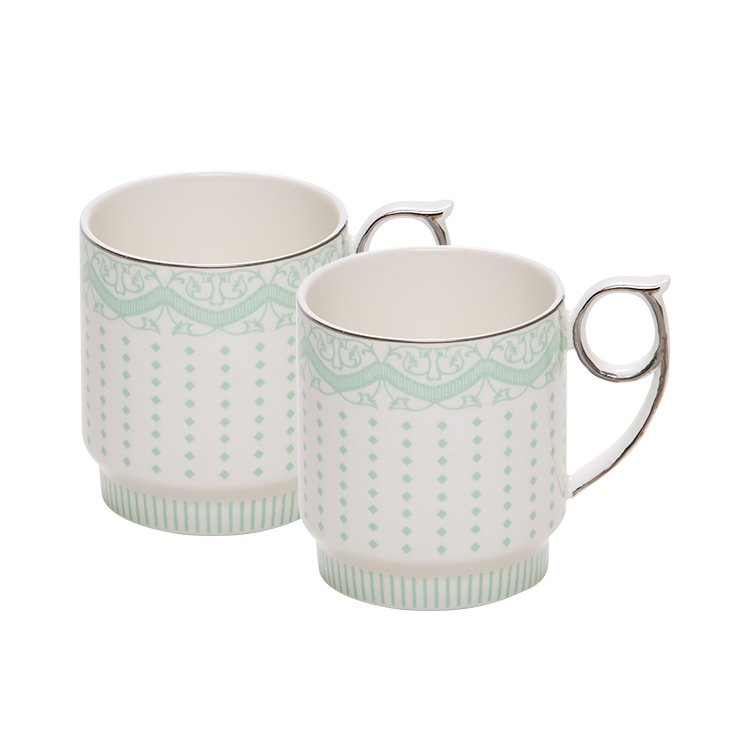Salt & Pepper Eclectic Mug 400ml Set of 2 Green Stripe