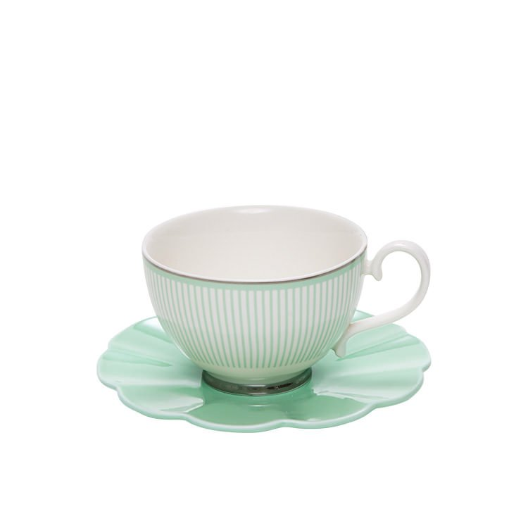 Salt & Pepper Eclectic Teacup & Saucer 230ml Green