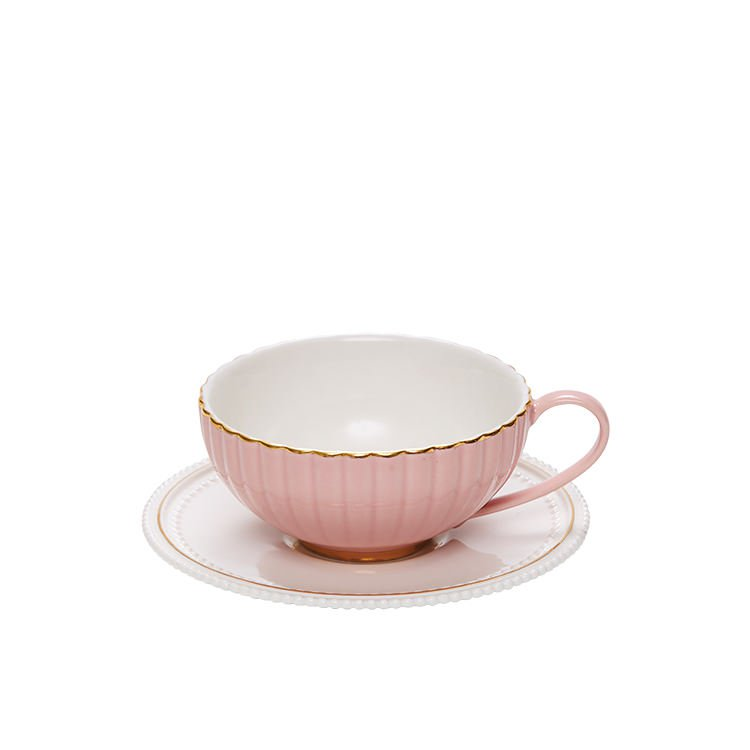 Salt & Pepper Eclectic Teacup & Saucer 250ml Pink