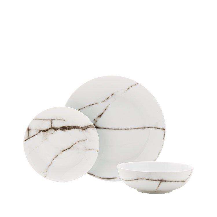 Salt & Pepper Marble Dinner Set 12pc White