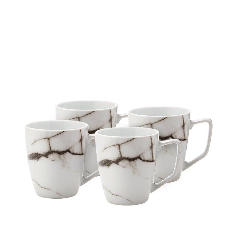 Salt & Pepper Marble Mug Set of 4