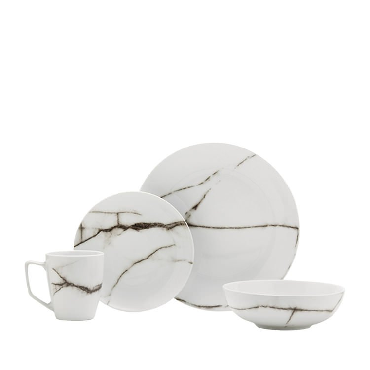 Salt & Pepper Marble Dinner Set 16pc White