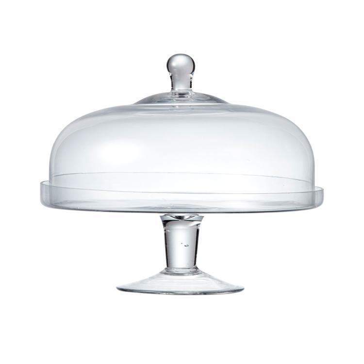 Salt & Pepper Salut Cake Stand w/ Glass Dome 29x30cm