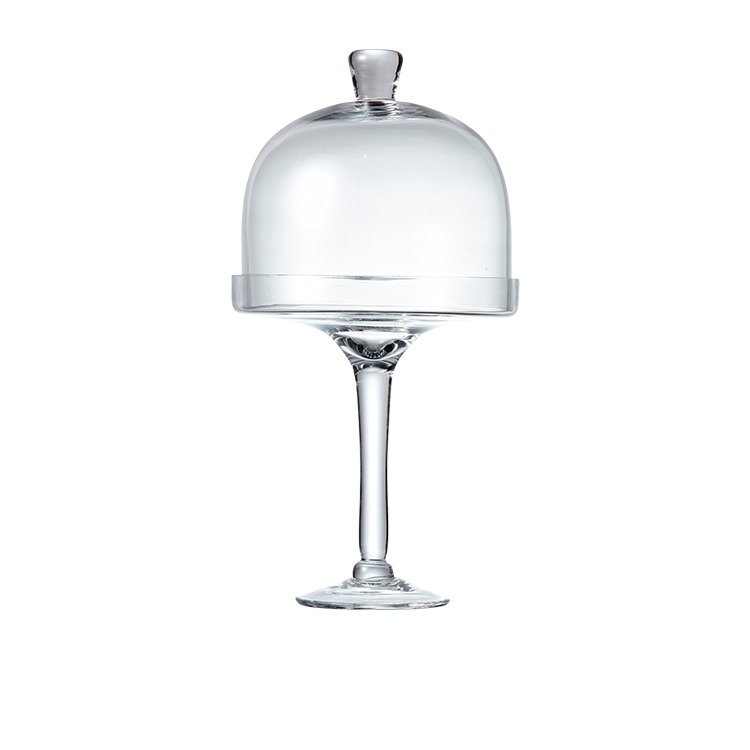 Salt & Pepper Salut Footed Glass Cake Stand w/ Dome 38cm