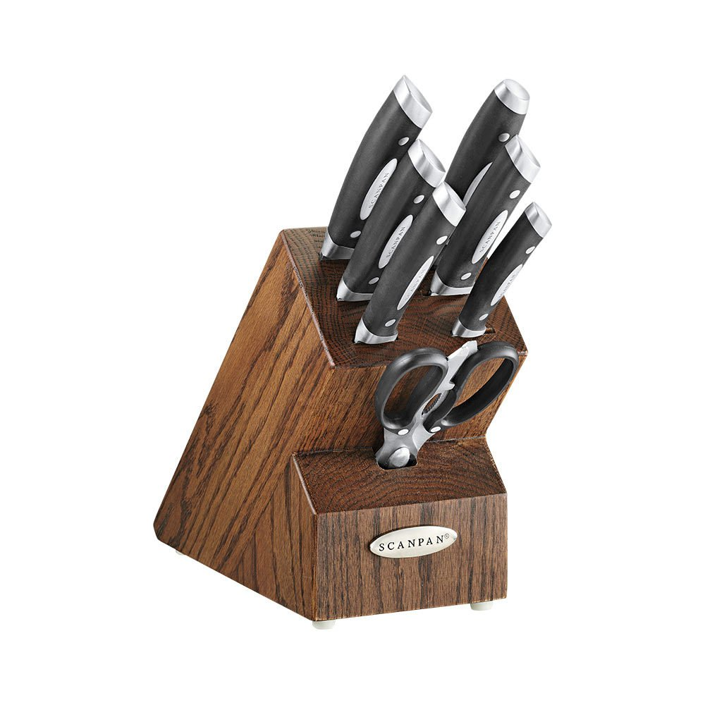 Scanpan Classic 8pc Knife Block Set Dark Oak