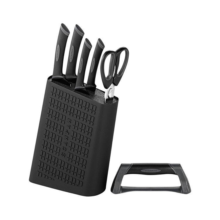 Scanpan Spectrum 6pc Knife Block with Sharpener Black/Grey