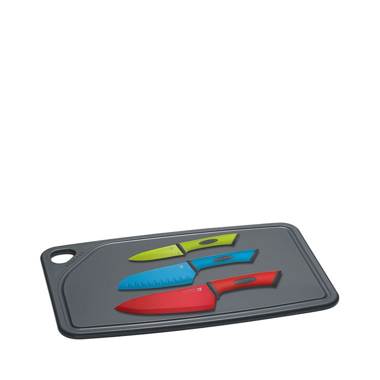 Scanpan Spectrum Cutting Board Set 4pc w/ Cutting Board Santoku Cook's & Utility Knife