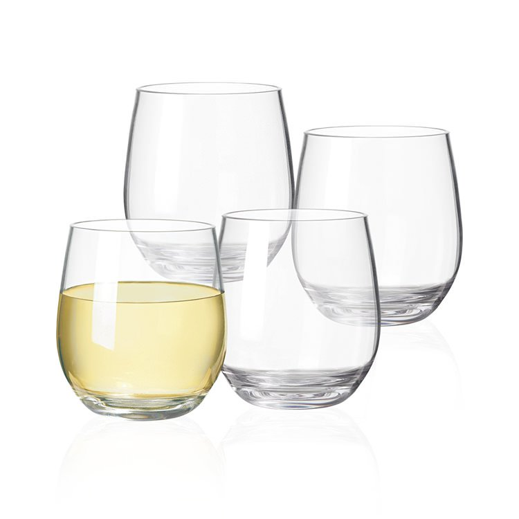 Serroni 4pc Stemless White Wine Glass Set 385ml