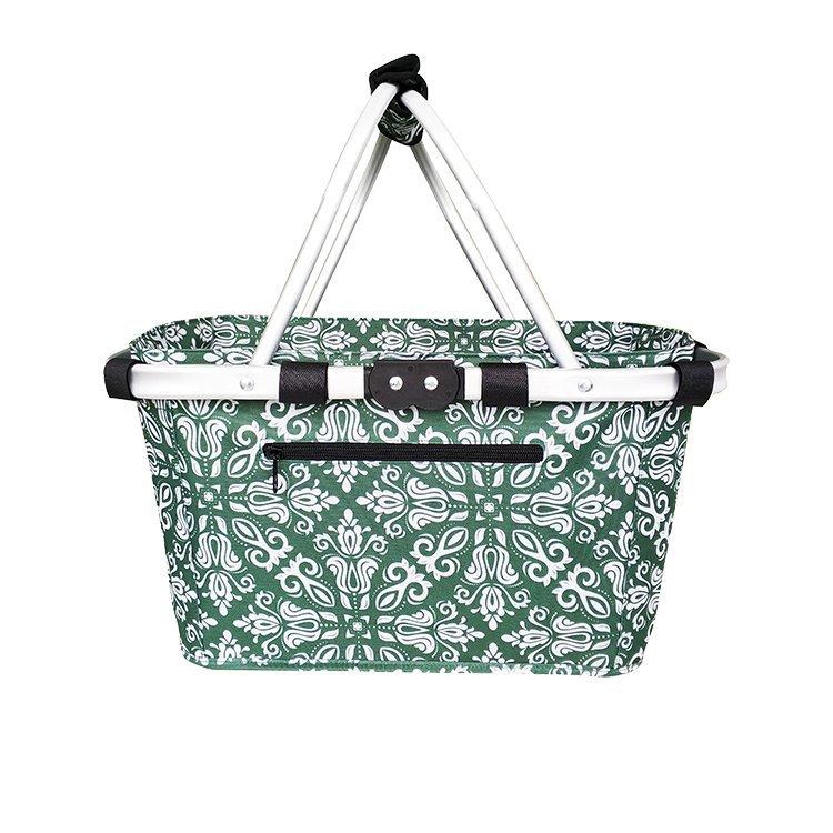 Sachi Carry Basket Double Handle Bohemian Green