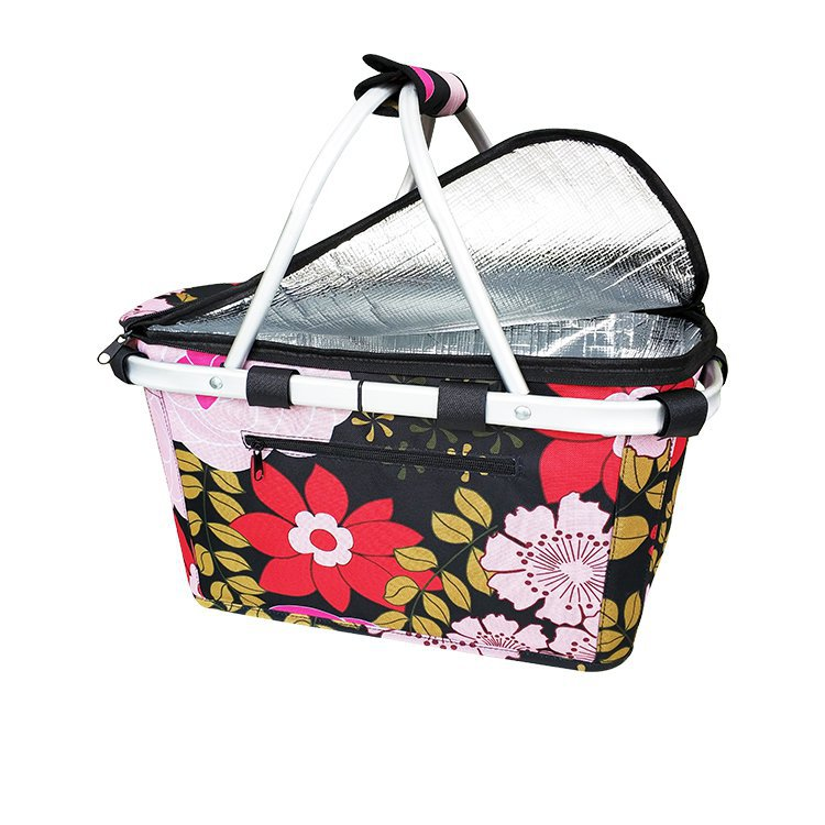 Sachi Insulated Carry Basket with Lid Floral Blooms