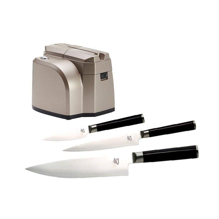 Shun Classic 3pc Knife Set with Bonus Electric Sharpener