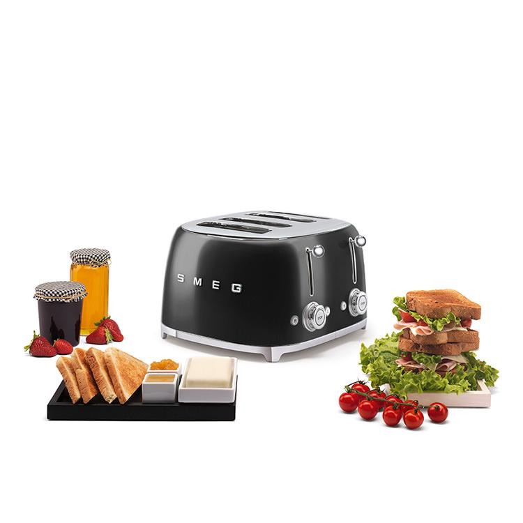 Smeg 50's Retro Style 4 Slot Toaster Black image #6