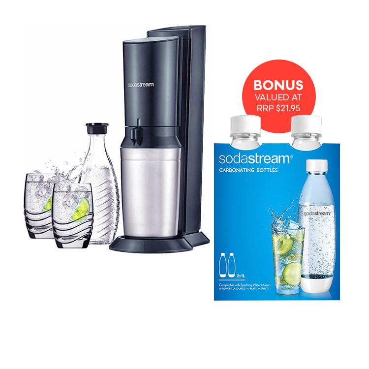 SodaStream Crystal Titan Drink Maker Set 1L Bottles Twin Pack