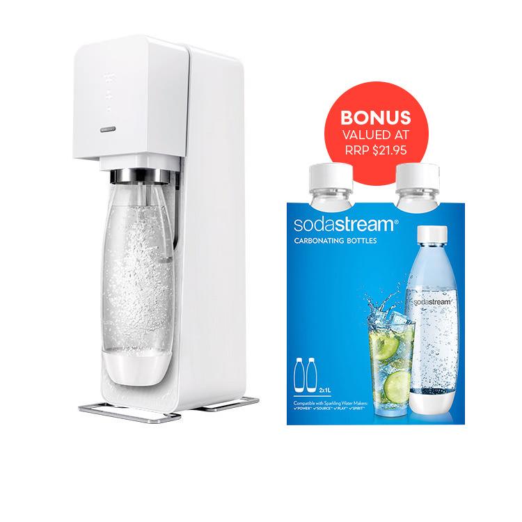 SodaStream Drink Maker Source Element White w/ Bonus Twin Pack Bottle