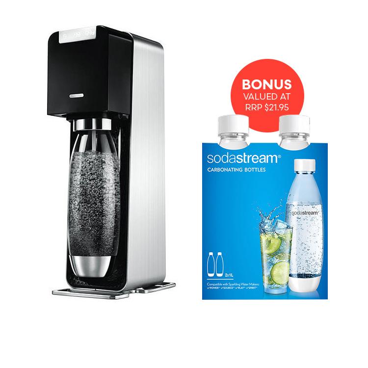 SodaStream Drink Maker Source Power Black w/ Bonus 1L Bottles Twin Pack