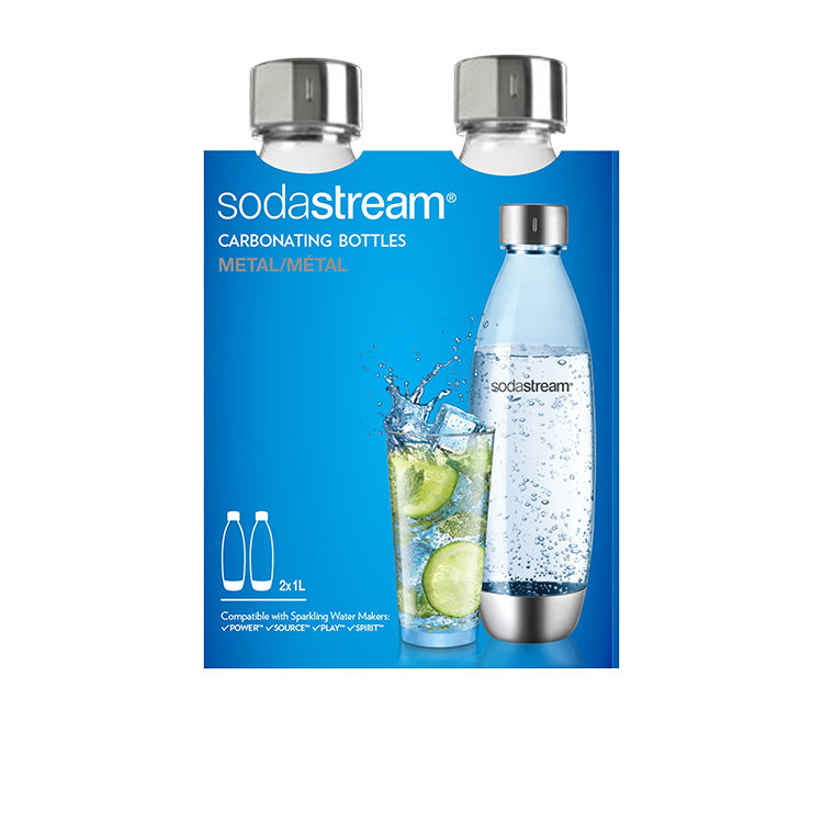 SodaStream Fuse Twin Bottle Pack 1L Metal