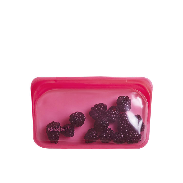 Stasher Reusable Snack Bag 11.5x19cm Raspberry