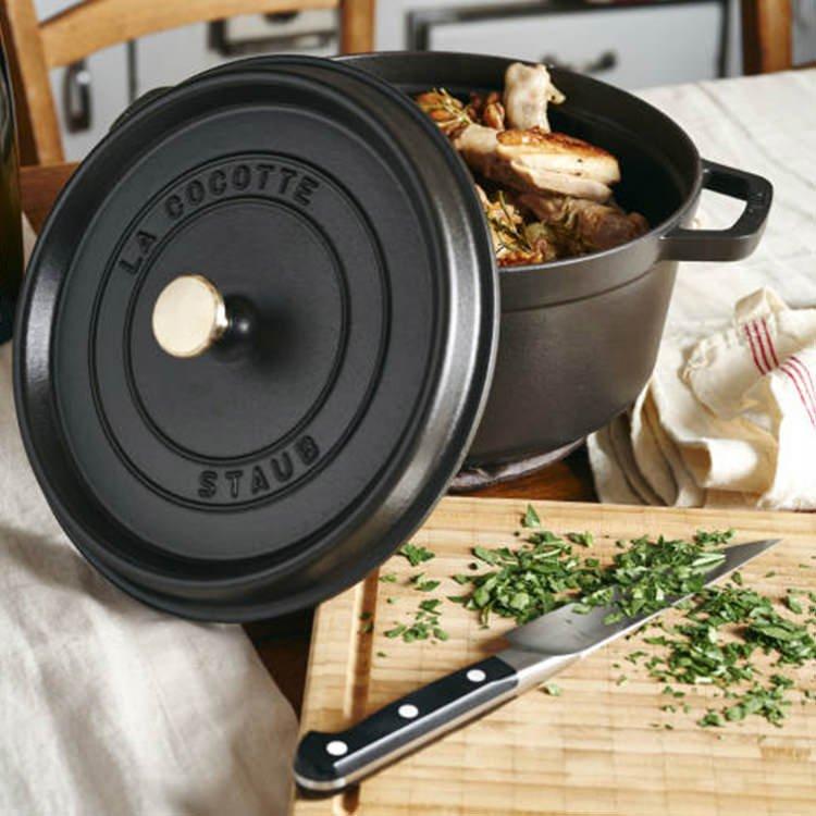 Staub Enamelled Cast Iron Round Cocotte 28cm Black