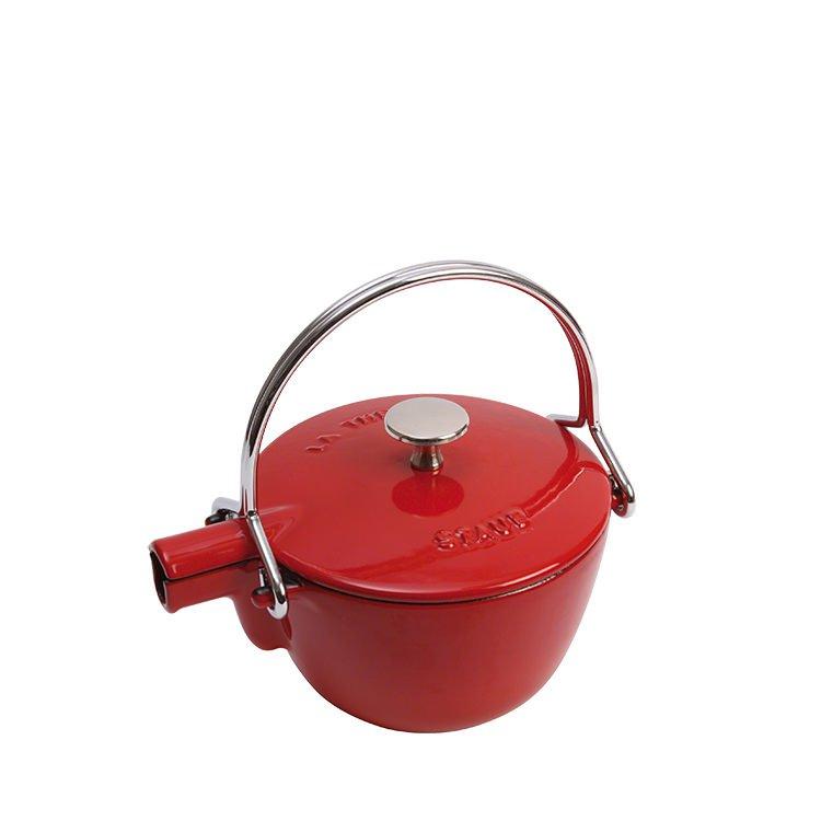 Staub Enamelled Cast Iron Round Teapot/Kettle 1.15L Cherry Red