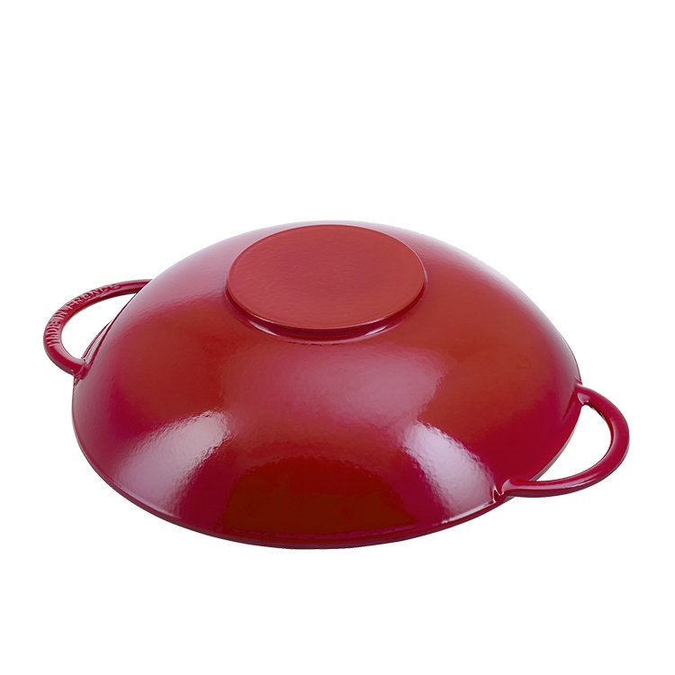 Staub Enamelled Cast Iron Wok 37cm Cherry Red