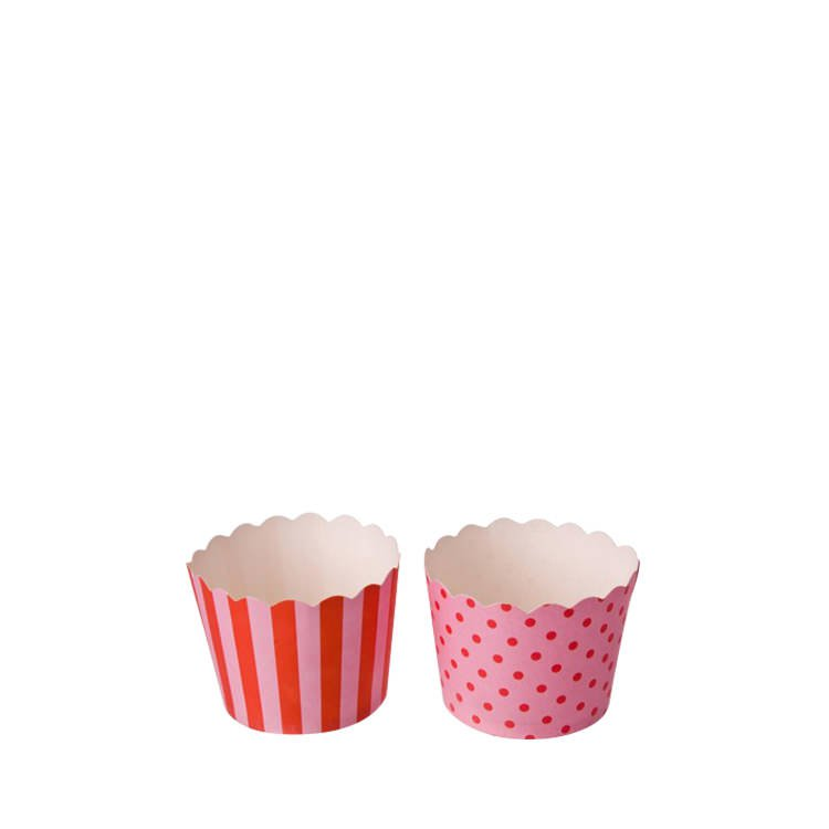 Sweet Creations Small Paper Baking Cups Pink Strips/Dots 24pk