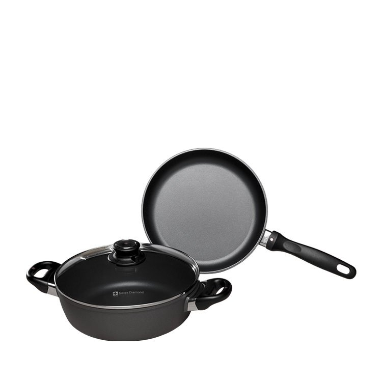 Swiss Diamond 2pc Set w/ 24cm Frypan & 24cm Casserole