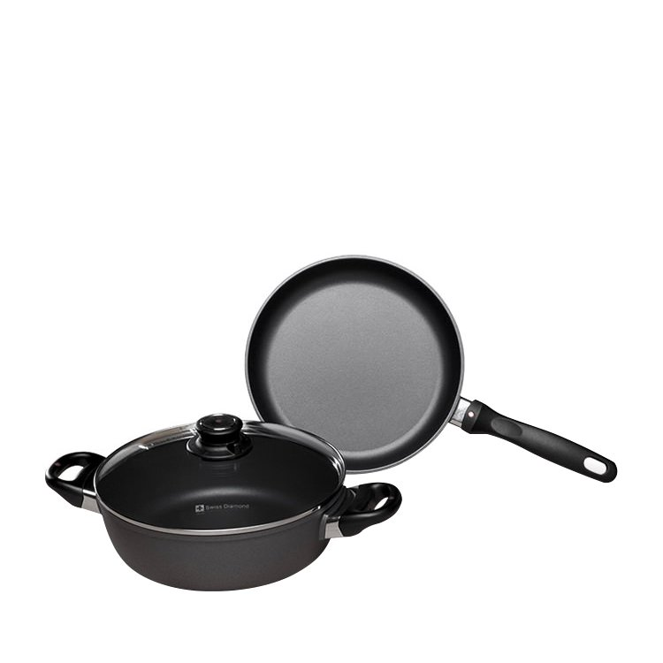 Swiss Diamond Classic 2pc Set w/ 24cm Frypan & 24cm Casserole