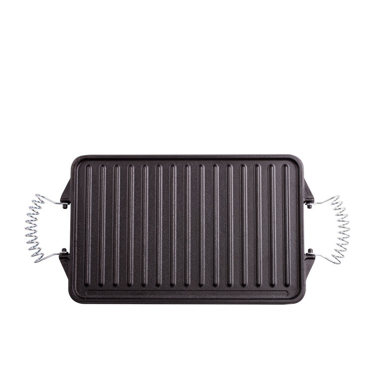 Victoria Seasoned Cast Iron Reversible Grill w/ Removable Handles 31.5x19cm