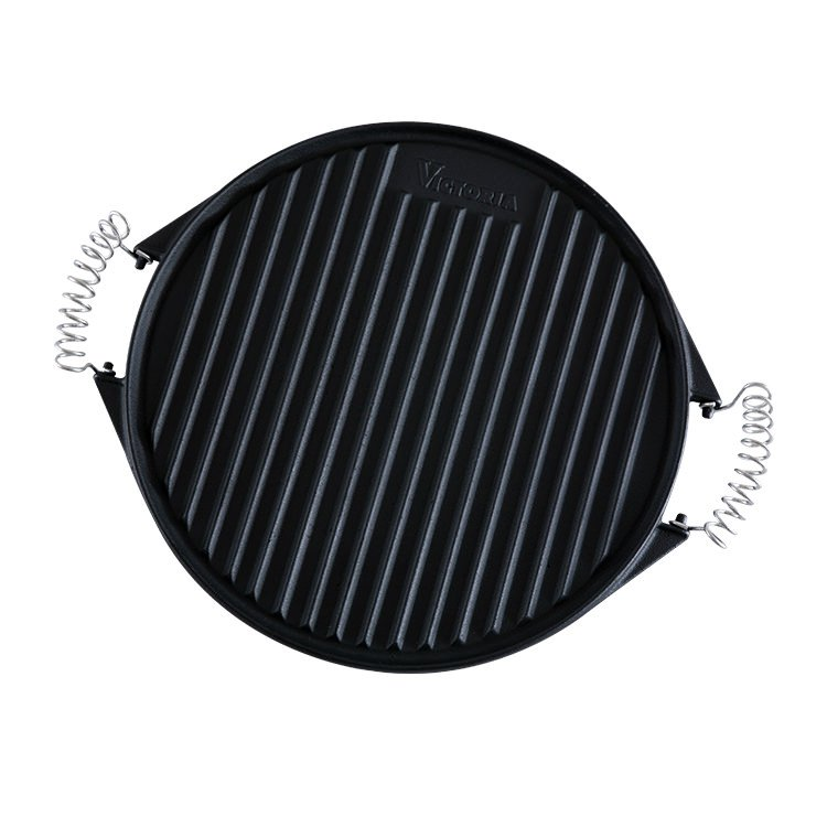 Victoria Seasoned Cast Iron Round Grill Pan with Removable Handles 31.5cm
