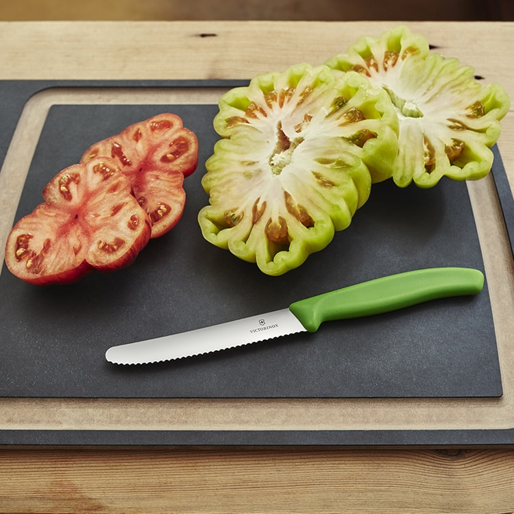 Victorinox Serrated Tomato & Sausage Knife 11cm Green