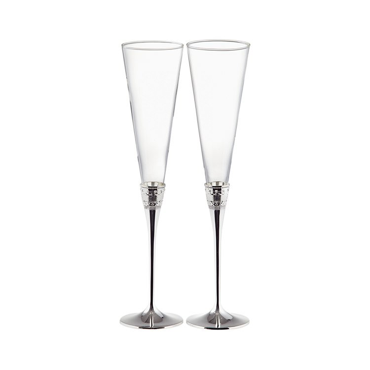 Wedgwood Vera Wang With Love Toasting Champagne Flute Pair Silver
