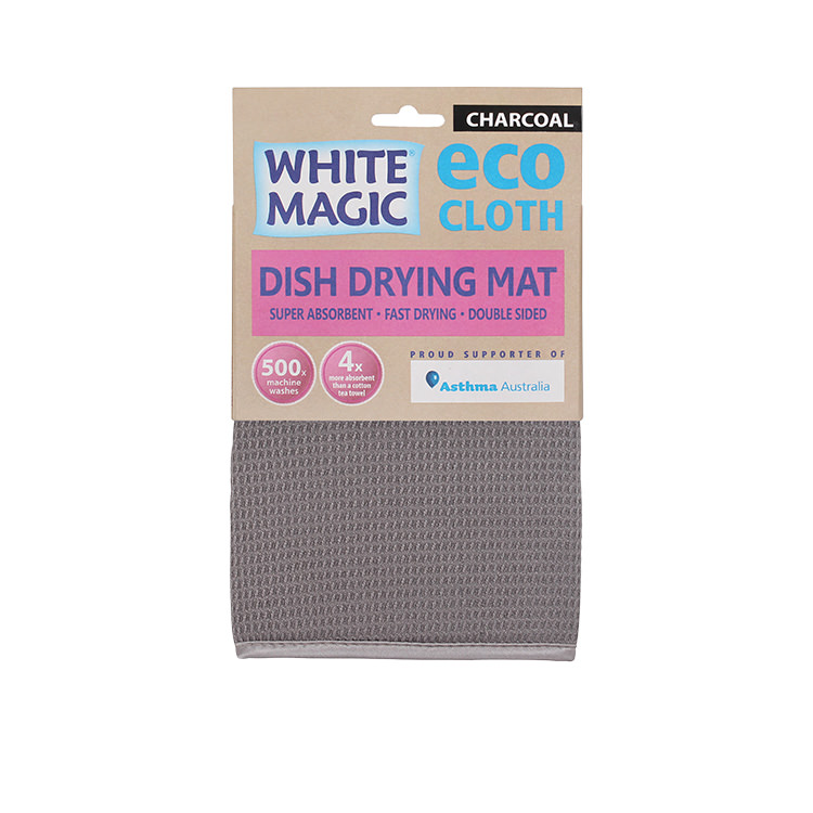 White Magic Eco Cloth Dish Drying Mat Charcoal